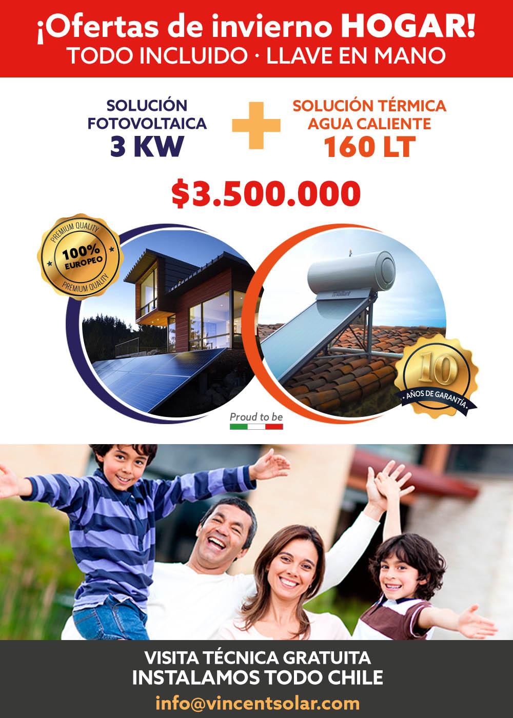 kit solar Kit Solar 3KW Fotovoltaico con 160LT Agua Caliente